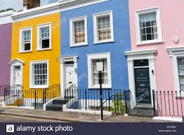 100 Notting Hill Houses Colorful Row Houses Seen In London Stock Photo