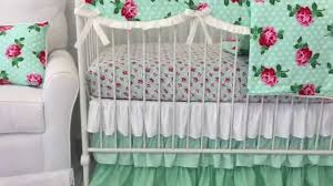 Coral And Mint Crib Bedding by Lucy U0027s Mint Floral Crib Bedding Mint Nursery Design Youtube