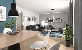 modernes wohnzimmer mit essbereich farbe mint grau weiß