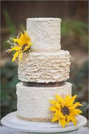Rustic Sun Flower Wedding Cake