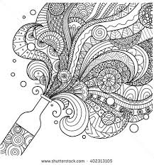 Champagne Bottle Line Art Design For Coloring Book Adultposter Card And