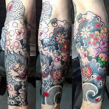 Colorful Mens Flower Tattoos