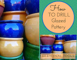 how to drill glazed pottery