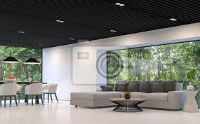 fototapete moderne schwarz weiß wohnzimmer und esszimmer mit blick auf den