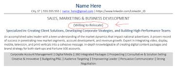 Example Of Including Relocation On A Resume