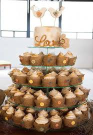 Rustic Wedding Cupcake And Cake Tower With Burlap Buttons