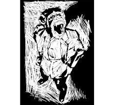 Lino Cut Monkey Drawing
