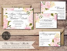 Printable Wedding Invitation Suite Floral Invite Vintage Style Roses Rustic RSVP Card DIY Set Wisdom