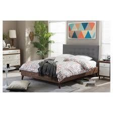alinia mid century retro modern fabric upholstered walnut wood