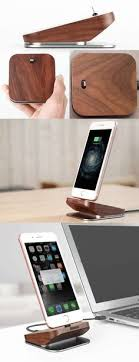 Wooden Aluminum Charge Cable Organizer iPhone Cell Phone Charging Station Dock Stand Holder