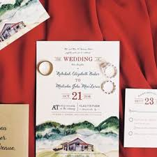 Rustic Watercolor Mountain Wedding Invitations