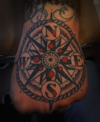 Color Ink Compass Tattoo On Hand