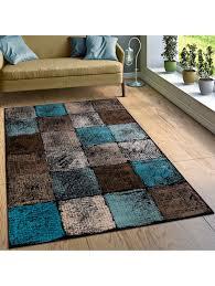 paco home designer teppich wohnzimmer ausgefallene farbkombination karo türkis braun creme klingel