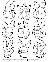 Coloring Eevee Evolutions Pages Printable