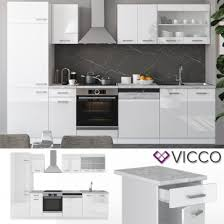 vicco küche r line 300 cm weiß hochglanz arbeitsplatten