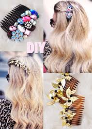 Click Through The Photos To See A Step By Tutorial And Go Gold Leaf DIY Hair Comb Learn How Make Other One Shown