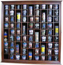 Large Wall Shadow Box Cabinet To Hold 71 Shot Glasses Display Case Hardwood