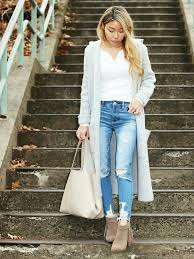 long grey sweater coat and ripped jegging u2013 l e n a x s t y l e