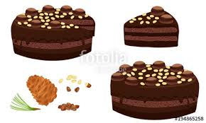 Whole chocolate cake with nuts and cream Portion Cake cut sliced with cuttings