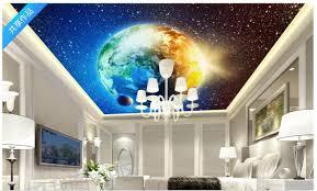 großhandel benutzerdefinierte 3d foto decke tapete blau coole erde kosmischen decke wandbilder tapeten inneneinrichtung wohnzimmer decke lobby wand