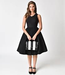 1950s Inspired Fashion Recreate The Look Style Black Scalloped Neckline Cotton Swing Dress 8300