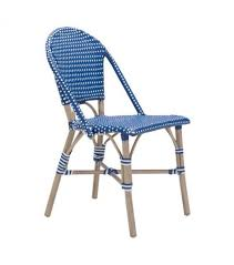 Bistro Navy Blue & White Patio Dining Chair Set 2