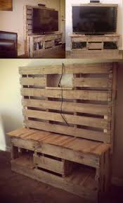 Pallet TV Cabinet Made From 2 Pallets One In The Back On Legs To Make It Taller And Cut Half Out Center Board Each Side All Way