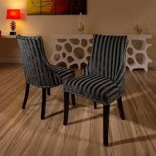 Luxury set of 2 fabric designer dining chairs black grey stripe new