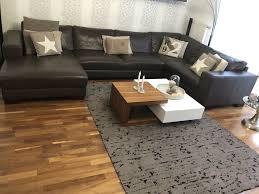echtledersofa polstergarnitur braun couchtisch teppich wohnzimmer