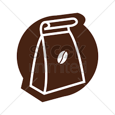 Paper Bag With Coffee Beans Vector Graphic