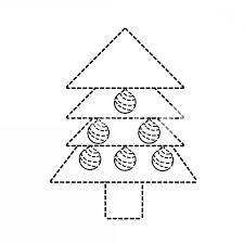 Dotted Shape Pine Tree Christmas With Balls Decoration Vector