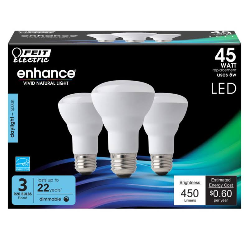 Feit Electric R20 Dimmable CEC LED Energy Star Light Bulb - Daylight, 45w, 3pk