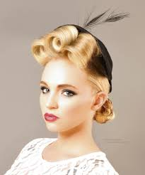 Retro Hairstyle With Curls And Rolled Braids