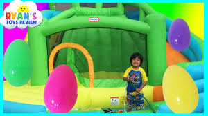 Inflatable Bath For Toddlers huge eggs surprise toys challenge inflatable water slide disney
