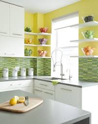 Green And Yellow Kitchen Decor With White Tile Refrigerator