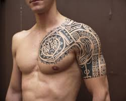 Superb Polynesian Tribal Tattoo On Left Chest And Shoulder For Men