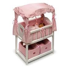 Badger Basket Pink Gingham Canopy Doll Crib with Baskets Bedding