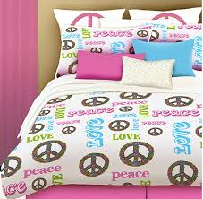 White Pink Blue Peace Sign Bedding Teen Girls Queen forter Set