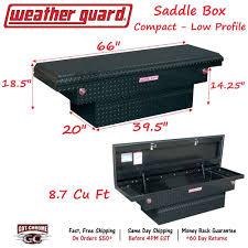 100 Weather Guard Truck Boxes 131501 Black Aluminum Saddle Box 66 Low Profile