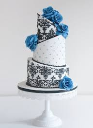 Astonishing Gallery White And Black Damascus Wedding Cake With Blue Flowers Wedding Ideas Alliswelus