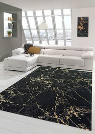teppich wohnzimmer modern teppich marmor optik in schwarz gold größe 80x150 cm