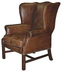 Rustic Accent Chairs Gaston Lodge Aged Leather Wingback Library Arm Chair Armchairs And