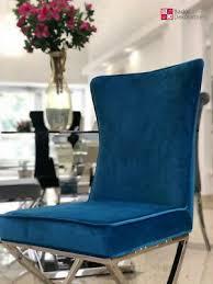 chesterfield stuhl valencia samt blau edelstahl esszimmerstuhl polsterstuhl neu