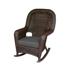 Tortuga Outdoor Sea Pines Java Wicker Outdoor Rocking Chair With Rave  Graphite Cushion