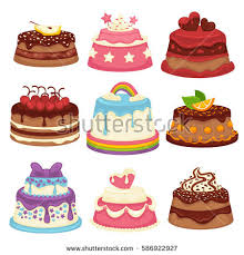 Cakes Decorated With Fruit by Decorated Sweet Festival Cakes Collection Isolated Stock Vector