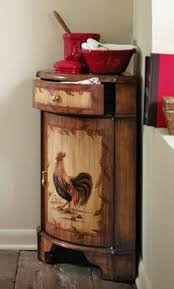 Hand Painted Rooster Corner Cabinet With Pullout Drawer
