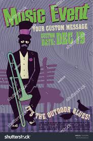Editable Vector Illustration Of Music Event Poster Design Template With Trombone Player Sitting In A