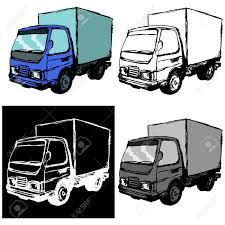 Hand Drawn, Cartoon, Sketch Illustration Of Small Truck Royalty Free ...