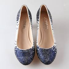 aliexpress com buy handmade white satin shoes with clear navy