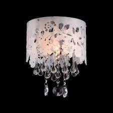 Laser Cut Lamp Shade by Laser Cut Flower Creamy Shade Clear Crystal Drops Single Light
